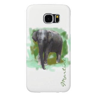 Pequeño elefante pintado dulce con nombre de funda samsung galaxy s6