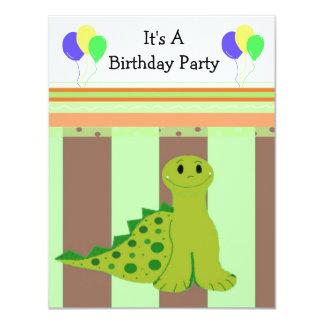 Pequeño fiesta Invitaiton del dinosaurio verde Comunicados Personalizados