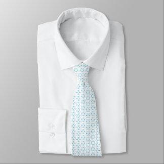 Pequeño floral abstracto azul claro y blanco corbata personalizada
