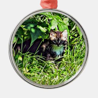 Pequeño gatito curioso adorno de cerámica
