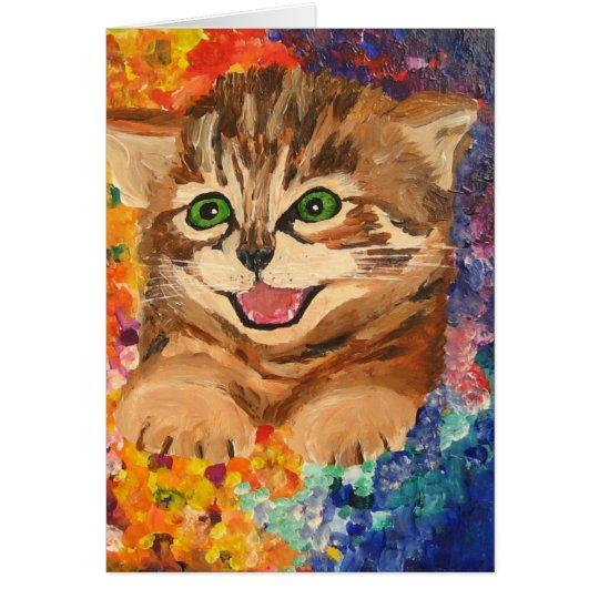 Pequeño gatito feliz - tarjeta de felicitación