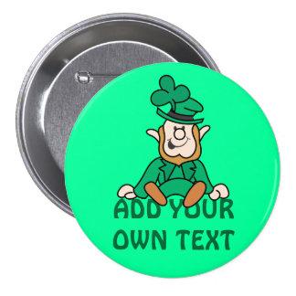 Pequeño Leprechaun - añada su propio texto Chapa Redonda De 7 Cm