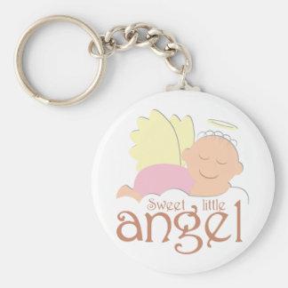 Pequeño logotipo dulce del ángel llavero redondo tipo chapa