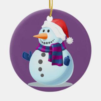 Pequeño muñeco de nieve feliz en fondo púrpura adorno de cerámica
