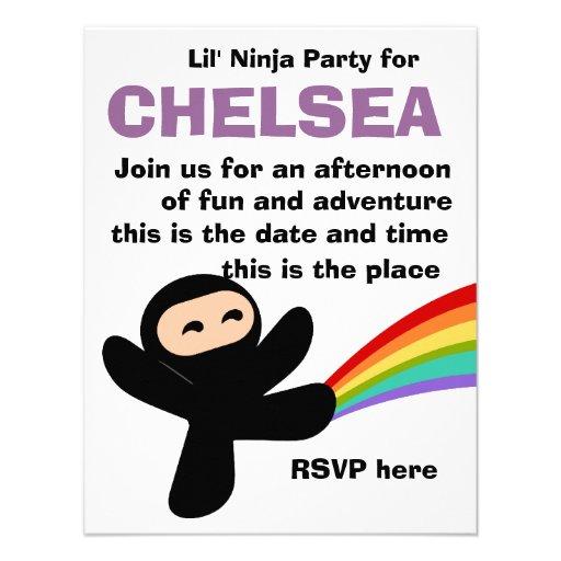 Pequeño Ninjas lindo Invitaciones Personales