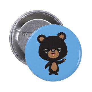 Pequeño oso negro chapa redonda de 5 cm