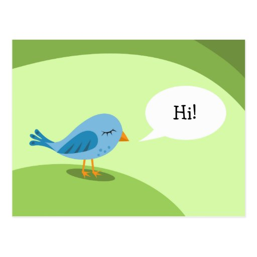 Pequeño pájaro azul con la burbuja del discurso en postal