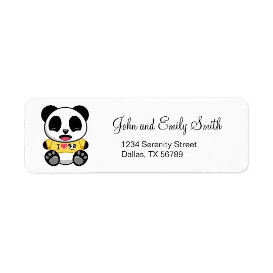 Pequeño panda lindo etiqueta de remite