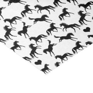 Pequeño papel seda negro de los caballos
