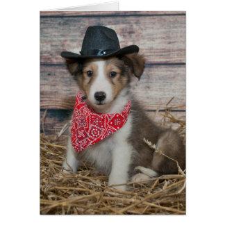 Pequeño perrito lindo del vaquero tarjeta de felicitación