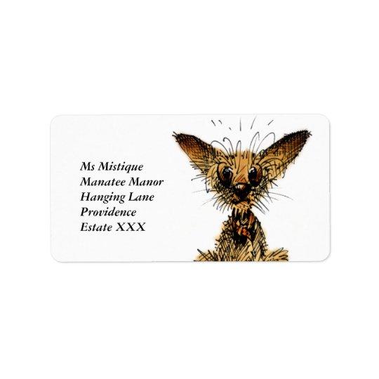 Pequeño perro lindo etiquetas de dirección
