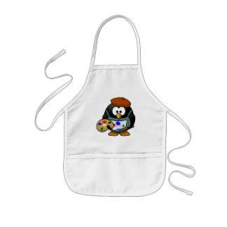Pequeño pingüino animado lindo del pintor delantal