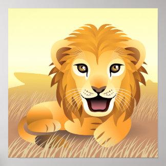 Pequeño poster del león póster
