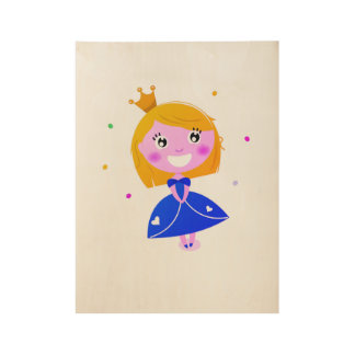 Pequeño poster lindo de la princesa: en la madera