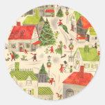 Pequeño pueblo del navidad etiquetas redondas