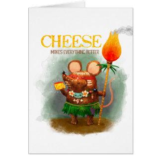Pequeño ratón lindo de la cueva y su queso tarjeta de felicitación