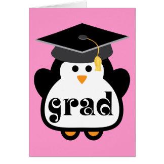 Pequeño regalo de la graduación del pingüino del tarjeta de felicitación