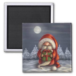 Pequeño Santa con un regalo Imanes