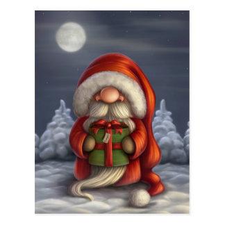 Pequeño Santa con un regalo Postal