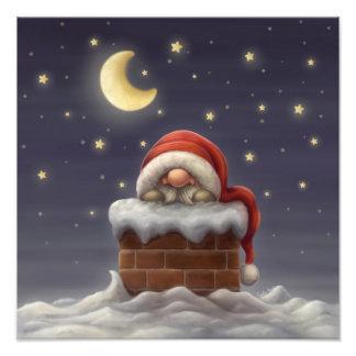 Pequeño Santa en una chimenea Arte Con Fotos