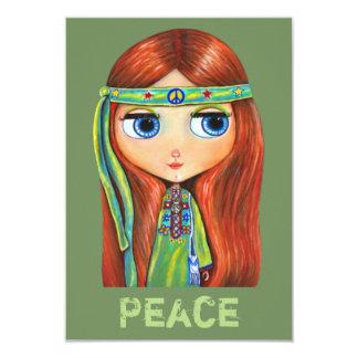 Pequeño signo de la paz verde lindo del chica del invitación 8,9 x 12,7 cm