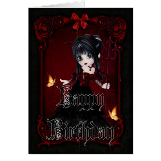 Pequeño tarjeta gótica del feliz cumpleaños del