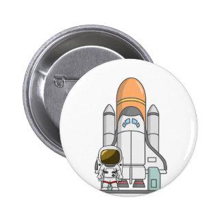 Pequeños astronauta y nave espacial pin