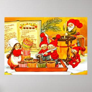 Pequeños ayudantes de Santas que hacen las tortas Impresiones