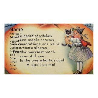 Pequeños bruja y gato (tarjeta de Halloween del vi Plantilla De Tarjeta Personal