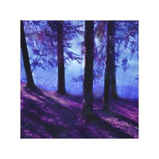 Pequeños charca y árbol abstractos lienzo