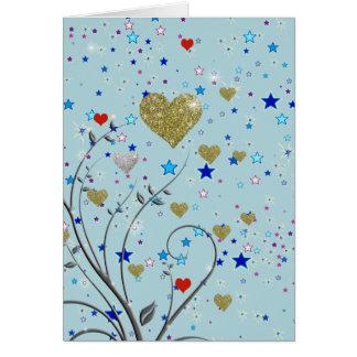 pequeños corazones delicados tarjeta de felicitación