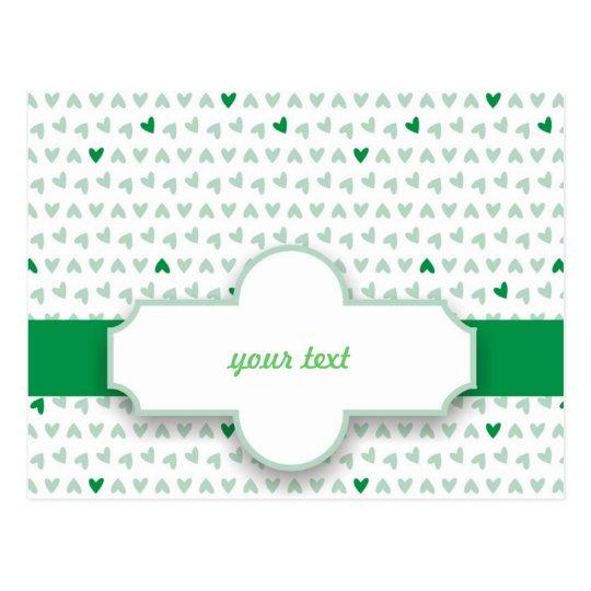 pequeños corazones verdes y grises dulces postal