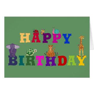 Pequeños Critters del feliz cumpleaños - tarjeta d