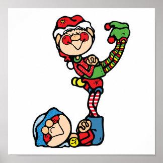 pequeños duendes divertidos del navidad póster