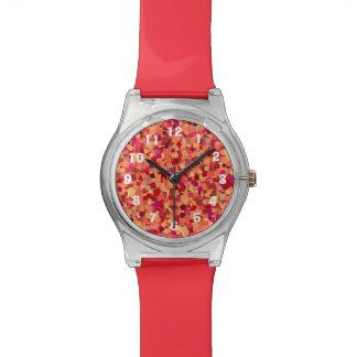 Pequeños números de cuadrados en colores pastel reloj de pulsera