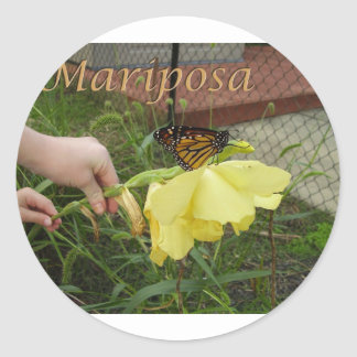 Pequeños pegatinas de Mariposa Pegatina Redonda