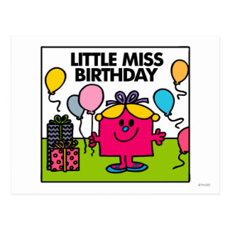 Pequeños presentes y globos de Srta. Birthday el | Postal