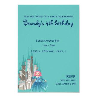 Pequeños princesa y castillo en cumpleaños de la invitación 8,9 x 12,7 cm