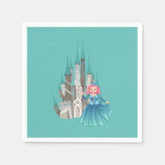 Pequeños princesa y castillo en turquesa servilleta desechable