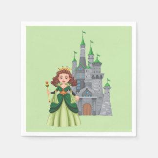 Pequeños princesa y castillo en verde servilletas de papel