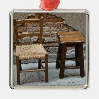 Pequeños silla y taburete, Pienza, Italia Ornamento De Navidad