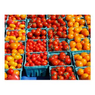 Pequeños tomates rojos y anaranjados postal