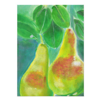 Peras que cuelgan de la pintura del árbol póster