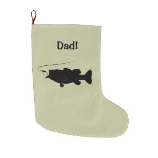 Perca americana en personalizable del nombre de la calcetín navideño grande