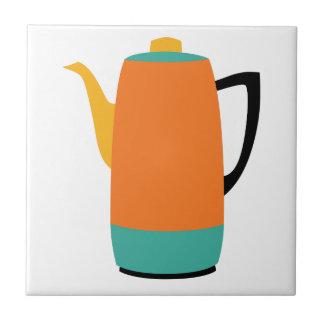 Percolador anaranjado del café azulejo