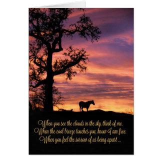 Pérdida de caballo, tarjeta de condolencia del