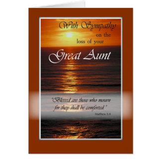 Pérdida de gran tía, puesta del sol de la tarjeta de felicitación