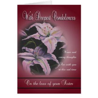 Pérdida de hermana - con las condolencias más prof felicitacion