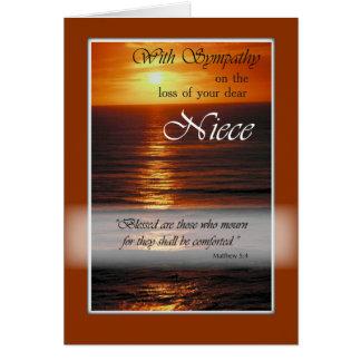 Pérdida de sobrina, puesta del sol de la tarjeta de felicitación