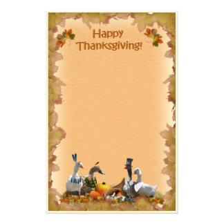 Peregrino de la acción de gracias y patos indios papelería